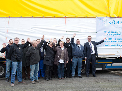 The Zinc Körner team waves goodbye to the truck to Omsk.
